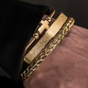 Mens Gold Cross Crucifix Bracelet Set Luxury 3 Pcs Bangle Stainless Steel