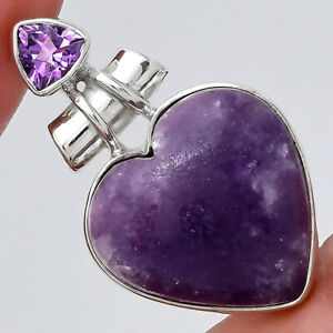 Heart Purple Lepidolite and Amethyst 925 Sterling Silver Pendant Jewelry E835
