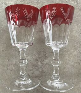 Vintage 1 Pair of Crystal Stemmed Clear w/Red Cut to Clear Wine Glasses