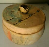 Vintage Pottery Clay Bowl w Lid Glazed inside Metal Nails Rose at top Cindy?
