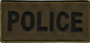 "2""x4.5"" Olive Green Black Police Cops Patch VELCRO® BRAND Hook Fastener Compatib"