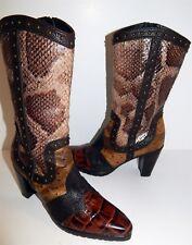 Stuart Weitzman Genuine Python Brown Leather Cowboy Boots 6 M
