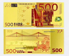 NEW 2017 *€500* EUROS -10TH ANNIVERSARY 24K PURE GOLD PROOF Colourised Banknote