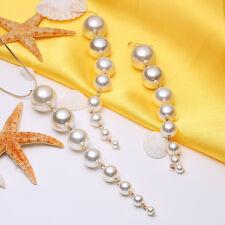 Stylish Women White Metal Imitation Pearl Clip-On Drop Beauty Ear Earrings Gift