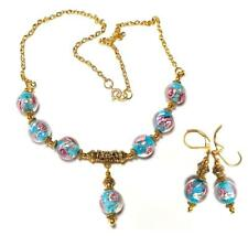 GOLD NECKLACE EARRING SET TURQUOISE PINK unique gypsy vintage antique style