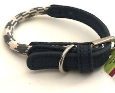 Dog Collar XS Extra Small Adjustable Blue Cream Rope Style Top Paw  8 - 12 inch