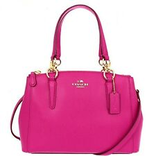 NWT Coach Mini Christie Crossgrain Leather Carryall 36704 IM Gold/Pink Ruby