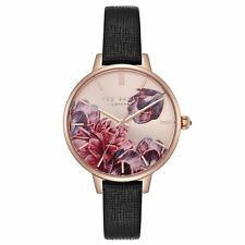 50d2479c4 Ted Baker Ladies Rose Gold Plated Watch Floral Dial Black Strap TE50005005