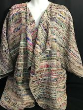 Rare Vintage Silk Cotton MRS H WINTER Poncho Batwing Jacket Multi Size Small