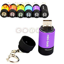 LED Flashlight Rechargeable USB Light Keychain Mini Torch orch Waterproof L1ST