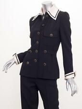 CHANEL HAUTE COUTURE *COLLECTIBLE* VINTAGE Black Sailor Nautical Pant Suit XXS