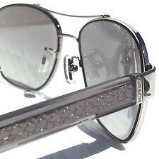 NEW* COACH 56mm Square Aviator Dark Crystal Grey Women's Sunglass HC7064 L151