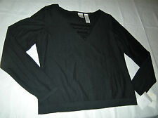 Emma James Women's  Black Pullover Square Neck Sweater w/Sequins Size L NWT