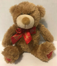 Harrods Teddy Bear Brown Stuffed Plush Animal With Red Bow Ribbon