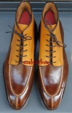 Hand Stitched Men's Unique Crafted Double Tone Leather Shoes, Italian Footwear