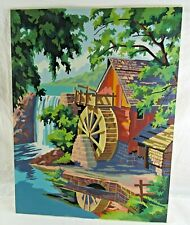 Paint By Number Watermill Wall Hanging 50s-60s Mid Century 18 x 24 PBN Vintage