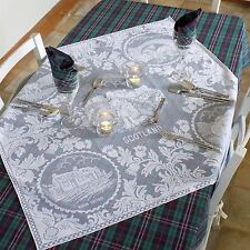 Scottish Thistle Design 3 Foot Square White Lace Tablecloth with Scottish Scenes