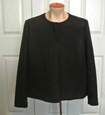 H & M Women's Collarless Crop Black Jacket Career Blazer  Button Sz 12 NWT