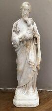 STATUE PLATRE ST JOSEPH A L'ENFANT PAR PIERACCINI RELIGIEUX SAINT JOSEPH
