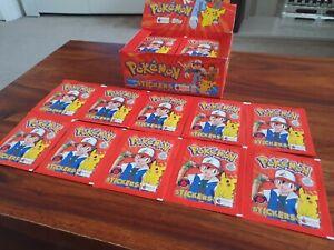 10x Pokemon Merlin Sticker Packet Topps Series 1 - 1999 - Rare!
