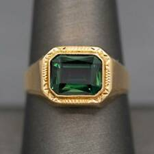 ENGAGEMENT SIGNET MEN'S SOLITAIRE RING 14K YELLOW GOLD FILLED 2.48 CT EMERALD