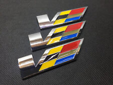 3Pcs Chrome Metal Large V Speed Car Body Sides Trunk Lid Sticker Badge Emblems