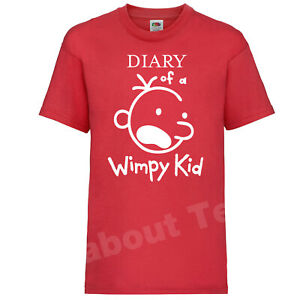 The Diary of a Wimpy Kid T-SHIRT Books Movie Jeff Kinney Inspired WORLD BOOK RED