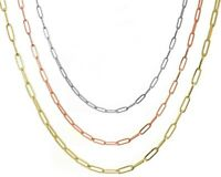 Paperclip Chain 14K Solid Gold Minimalist Rectangle Long Link Necklace 2.6-5mm