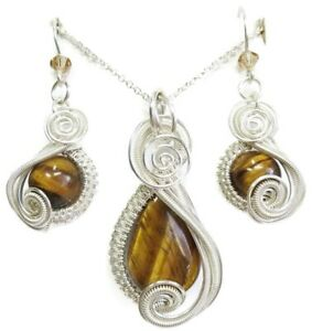 Golden Tiger Eye & Swarovski Crystal Wire-Wrapped Earring/Necklace SS