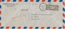 1940 Censored Airmail Cover fr New York, NY to St. George,Grenada, BWI -Scott C8