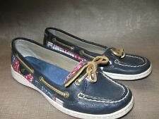 Sperry Top-sider Anglefish boat shoe. Navy leather/paisley bandanna canvas. Sz 7