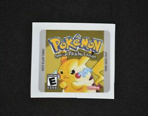 Gameboy Pokemon Yellow Version Replacement Label Decal Sticker Nintendo