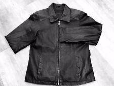 Lee World large black leather jacket