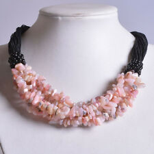 g1128 Pink opal chips gemstone beaded necklace 19""