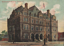 Vintage 1907 Governement Building Peoria Illinois ILL IL Postcard