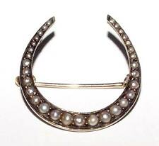 Antique 14K Yellow Gold Horseshoe 31 Seed Pearls Pin Brooch Good Luck