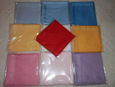 LADIES 100% COTTON SATIN STRIPE HANDKERCHIEFS 30CM X 30CM 12 PACK