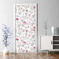 Türposter Klebefolie selbstklebend Wandaufkleber  Pastell Rosen Blumen