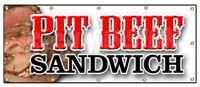 PIT BEEF SANDWICH BANNER SIGN bbq smoked meat beef grilled restaurant