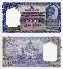 Nepal 10 Mohru Banknote World Paper Money Xf Grade Currency Pick p6 1960 Staple