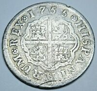 1755 Spanish Silver 1 Reales Genuine Antique 1700's Colonial Cross Pirate Coin