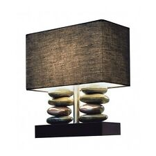 Modern Table Lamp Contemporary Stacked Stone Black Rectangular Chic Decor NEW
