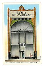 Atlantic City NJ - KENTS RESTAURANT AT 1214 ATLANTIC AVENUE - Art Deco Postcard