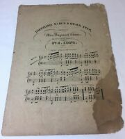 1800's sheet music ~ Miss Virginia E Evans BACHELORS MARCH & QUICK STEP