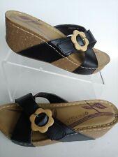 Patrizia by Spring Step Poseidon Black Leather Wedge Sandals Women's 39 US 8.5