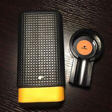Yellow Black Cohiba Leather Cedar 3 Ct Cigar Case Holder & Black Cigar Ashtray