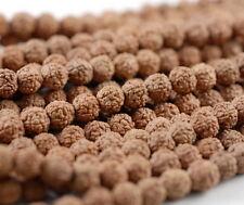 "6mm Natural Rudraksha Bodhi Seed Mala Meditation 108 Beads Brown Round 23"""
