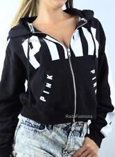 Victoria's Secret PINK Cropped Boxy Full Zip Hoodie Sweatshirt Fleece Jacket