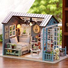 American Retro DIY DollHouse Miniatures House Gift LED Furniture Kit Light Box