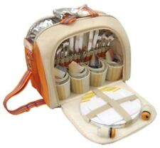 Picnic Bag Pack 4 Person Hamper Cooler Mugs Plates Cutlery Napkins Beach Travel
